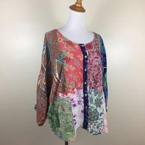SACRED THREADS Mixed Print Dolman Button Shirt